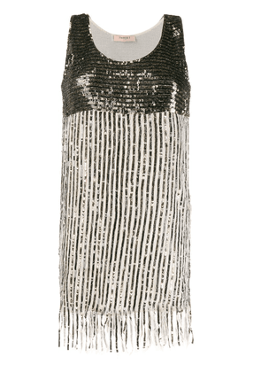 Twin-Set sequin-embellished fringed-hem dress - NEUTRALS