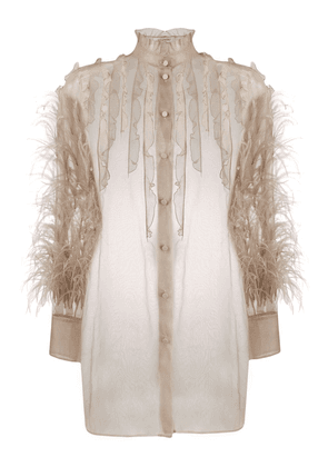 Valentino feather embellished frilled blouse - Neutrals