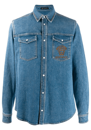 Versace embroidered Medusa denim shirt - Blue