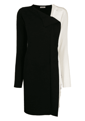 Twin-Set two tone asymmetric neckline dress - Black
