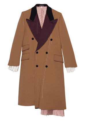 Gucci Asymmetric wool coat with stitching - Neutrals
