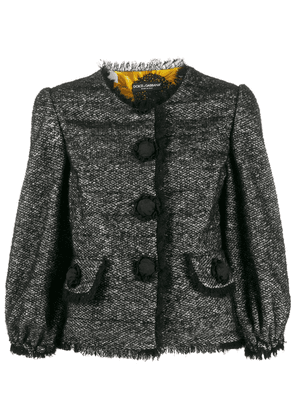 Dolce & Gabbana tweed decorative button blazer - Black