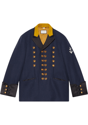 Gucci Felt coat with anchor patch - Blue