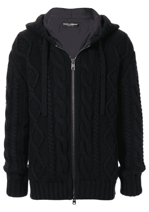 Dolce & Gabbana cable-knit zipped hoodie - Blue