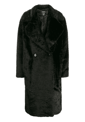 DKNY double breasted faux fur coat - Black