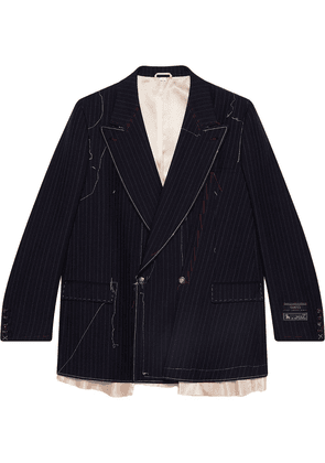 Gucci Asymmetric pinstripe jacket with stitching - Blue