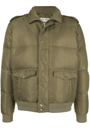 Saint Laurent zip-up short puffer jacket - Green