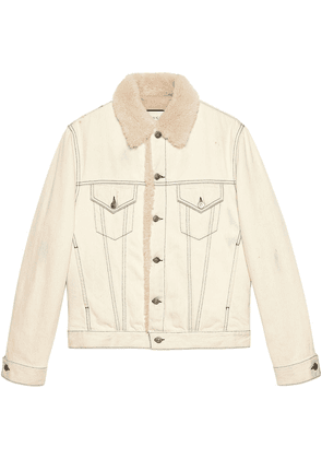 Gucci Shearling lined denim jacket with sketch snake print - Neutrals