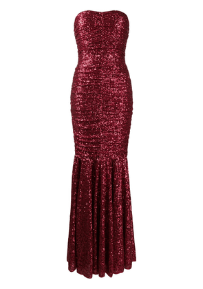 Dolce & Gabbana sequined long dress - Red