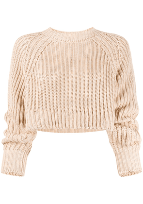Esteban Cortazar ribbed cropped jumper - NEUTRALS