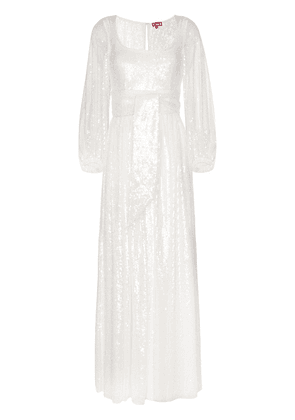 Staud sequin embellished maxi dress - White