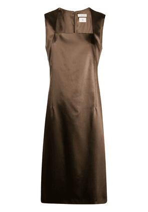 Bottega Veneta sleeveless shift midi dress - Brown