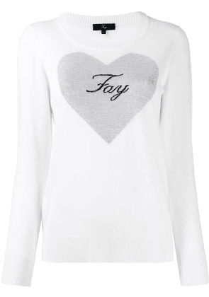 Fay heart print knitted jumper - White