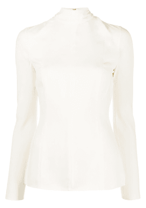 Valentino high-neck long-sleeved blouse - NEUTRALS