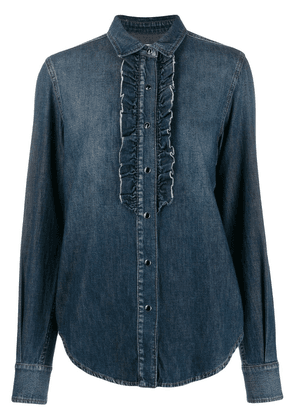 Saint Laurent ruffled front denim shirt - Blue