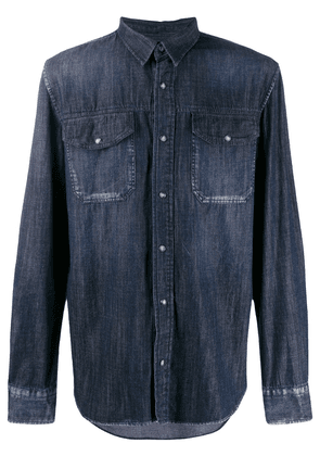 Frankie Morello dark denim pocket shirt - Blue