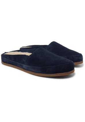 Mulo - Shearling-lined Suede Slippers - Navy