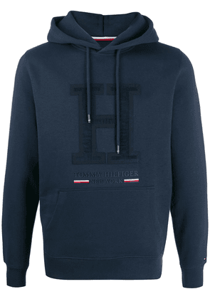 Tommy Hilfiger logo appliqué patch hoodie - Blue