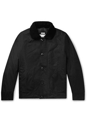 Freemans Sporting Club - Shearling-trimmed Waxed-cotton Jacket - Black
