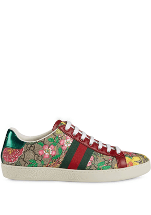 Gucci flora print low-top sneakers - NEUTRALS