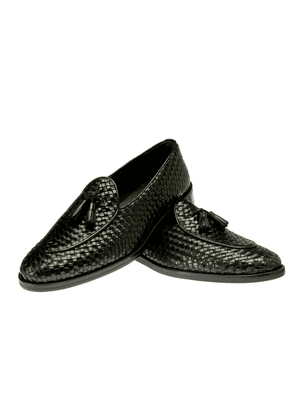 Black Brando Woven Leather Loafer