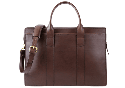 Chocolate Double Zip-Top Harness Belting Leather Briefcase