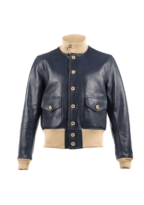 Navy A1 Leather Bomber Jacket