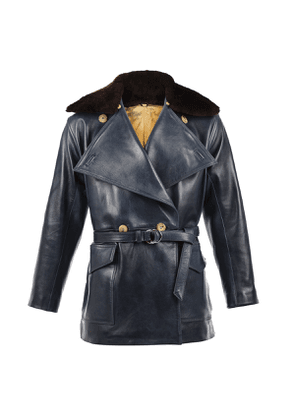 Navy 1914 Belted Leather Jacket