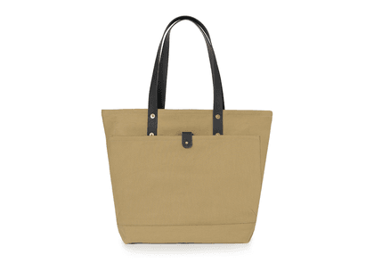 Tan and Black Broadway Canvas and Leather Tote