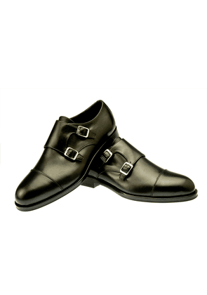 Black Berny Leather Double Buckle Monk Strap Shoes