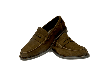 Brown Enry Suede Penny Loafers