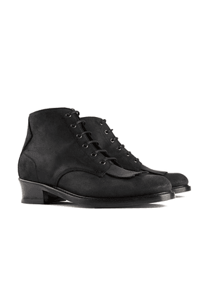 Black Buster Waxy Leather Boots