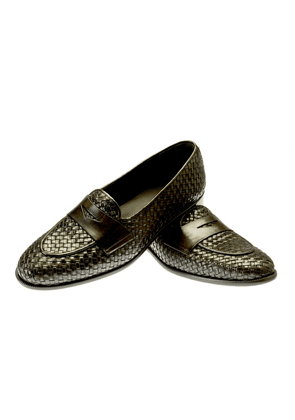 Brown Brenno Woven Leather Loafers