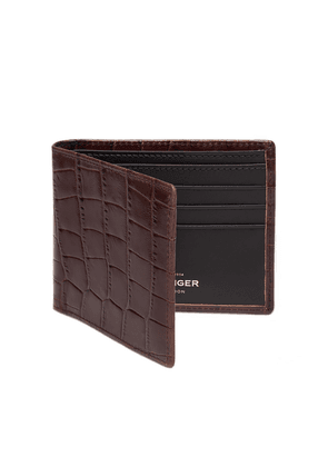 Mahogany Croco Billfold Glazed Cowhide Leather Wallet