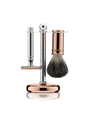 Chrome and Rose Gold Plate 3 Piece Shaving Set