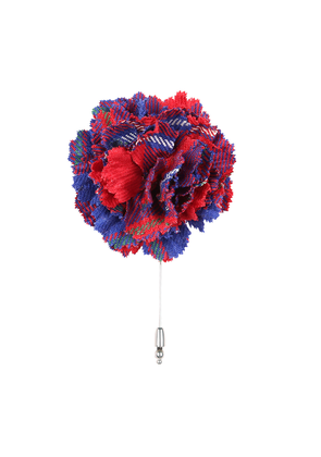 Red and Blue Tartan Flower Lapel Pin