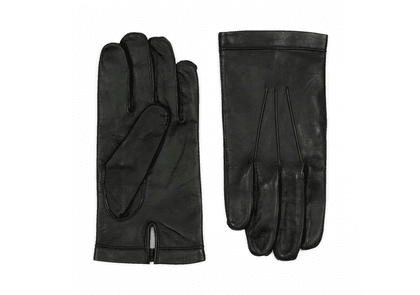 Black Silk Lined Calf Leather Gloves