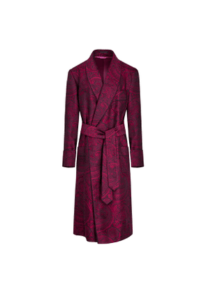 Magenta Large Paisley Lined Silk Dressing Gown