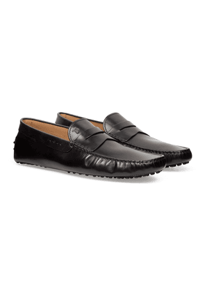Black Hand-Patinated Leather Gommino Driving Shoes