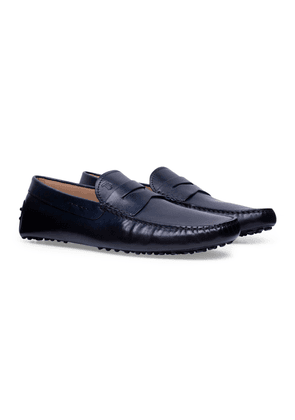 Blue Hand-Patinated Leather Gommino Driving Shoes
