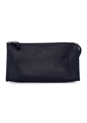 Blue Deer Leather Washbag with Mirror