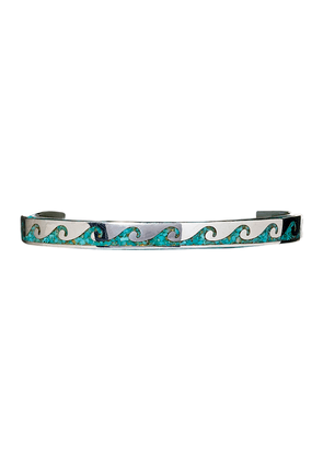 Sterling Silver and Turquoise Open Wave Cuff
