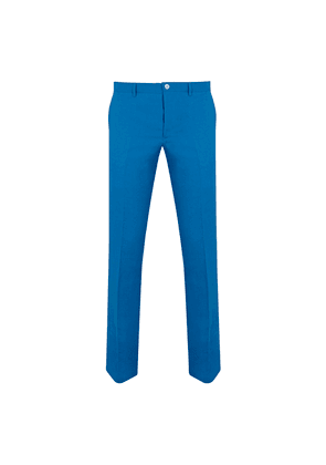 Blue Cobalt Linen Flat-Fronted Trousers