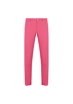 Pink Linen Flat-Fronted Trousers