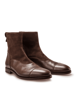 Dark Brown Suede and Leather Ruskin Boots
