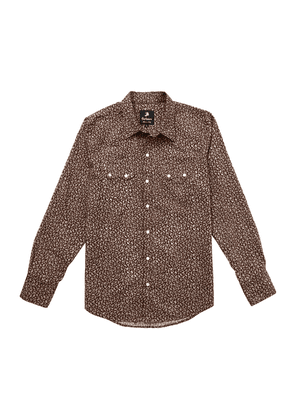 Brown and White Floral Cotton Western Shirt