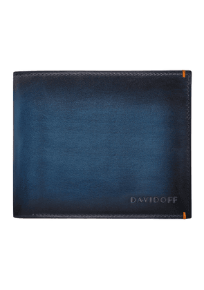 Blue Hand-Painted Leather Venice Bifold Eight-Card Wallet