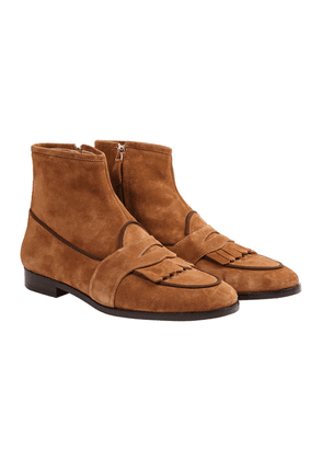Brown Suede Fringe Greenwich Loafer Boots