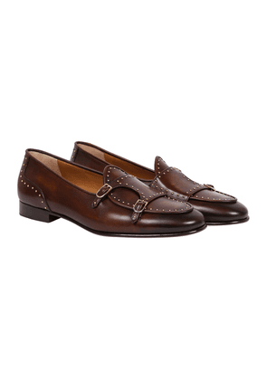 Brown Leather Studded Brera Double-Monk Strap Loafers