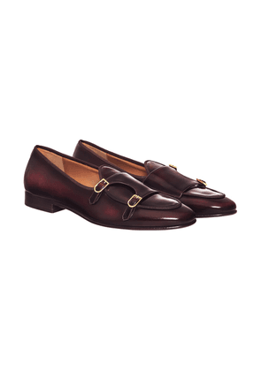 Burgundy Leather Brera Monk-Strap Loafers